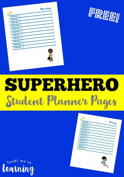 Superhero Free Student Planner Pages @ Look! We're Learning!