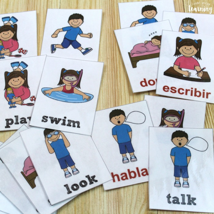 English and Spanish Verb Flashcards