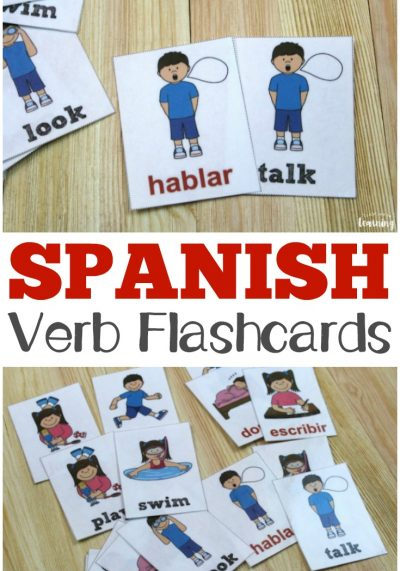 Learn how to use action words in Spanish with these printable English and Spanish verb flashcards!