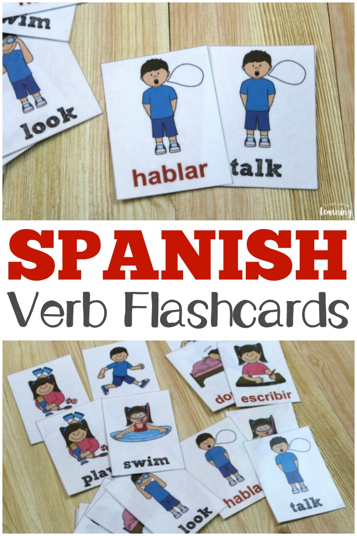 Pictures Spanish For Cute Girl: Printable Spanish Flashcards: Spanish Verb Flashcards