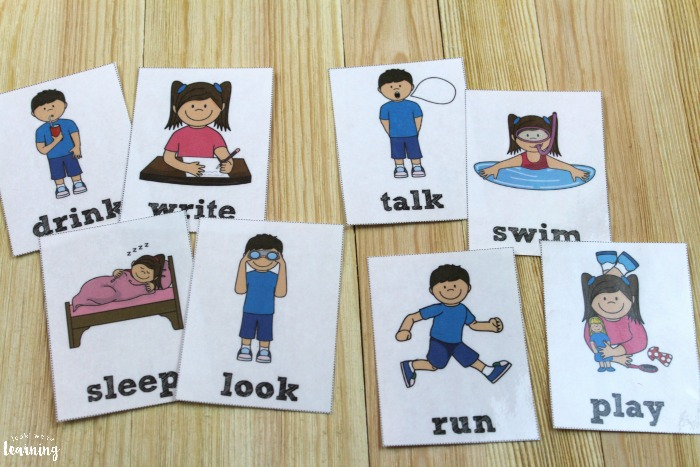 Printable English and Spanish Verb Flashcards