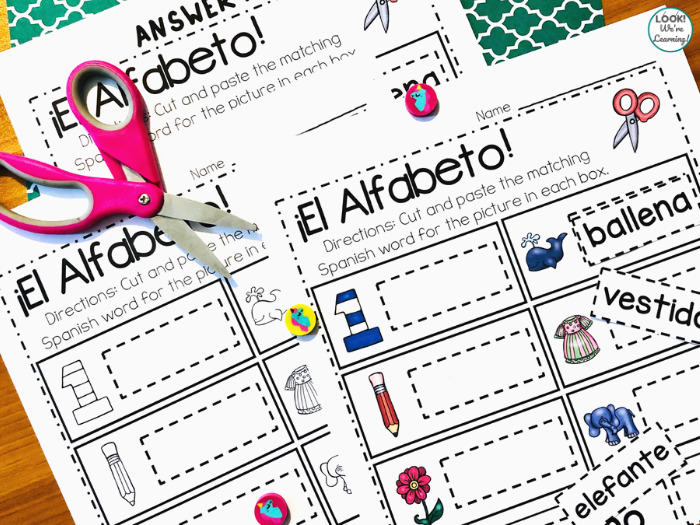 Spanish Alphabet Cut and Paste Activity for Kids