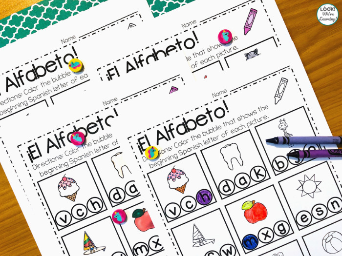 Spanish Alphabet Phonics Worksheet for Kids