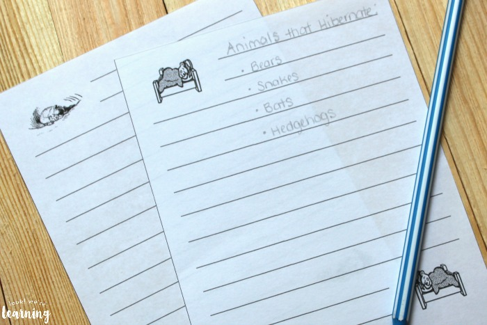 Hibernation Notebooking Pages for Kids