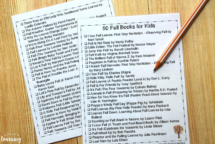 Printable Fall Booklist for Kids
