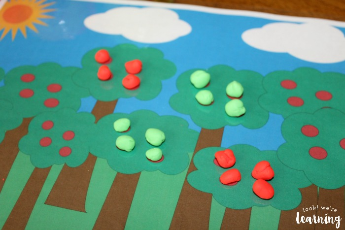 Counting by Four with Apple Tree PreK Playdough Mats