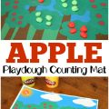 Practice counting and fine motor skills with this fun playdough apple tree counting mat!