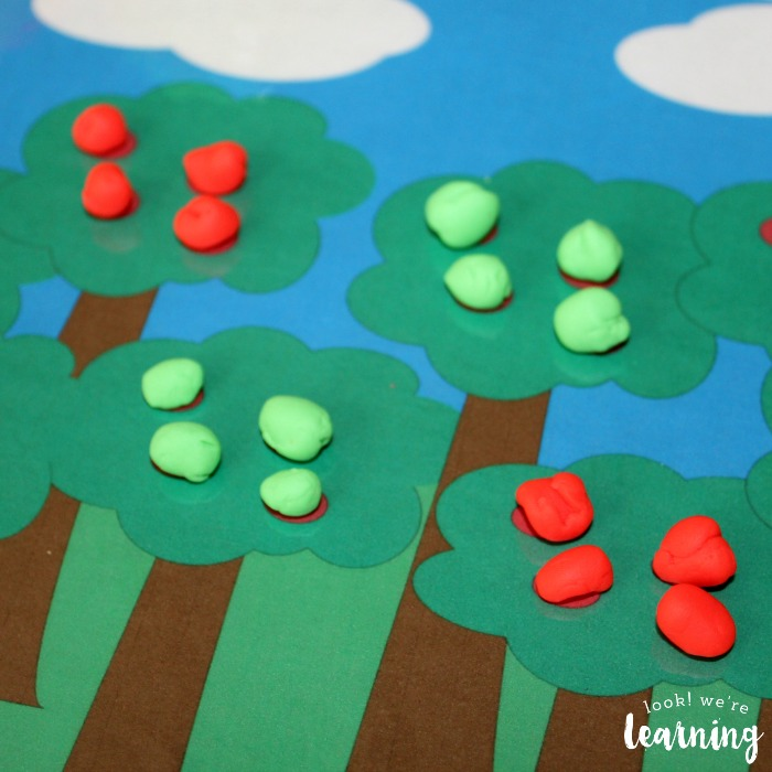 PreK Apple Tree Playdough Counting Mat