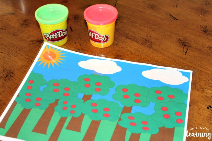 Supplies For the Apple Tree Playdough Counting Mat