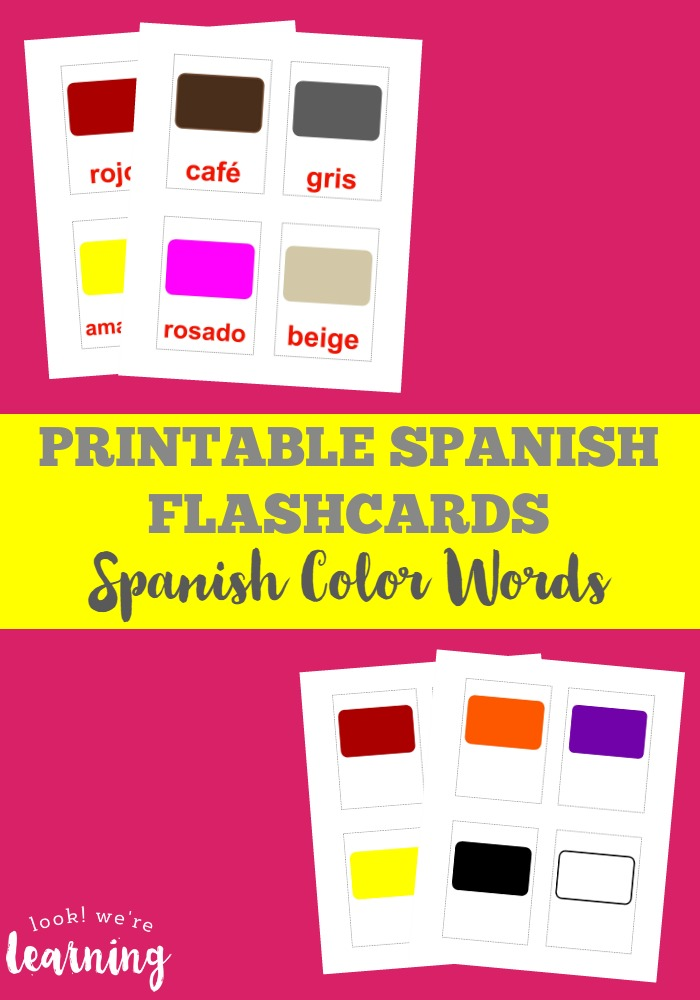 photograph regarding Colors Flashcards Printable identified as Printable Spanish Flashcards: Spanish Colour Flashcards