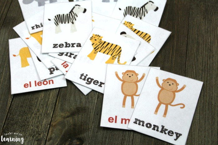 English and Spanish Zoo Animal Flashcards