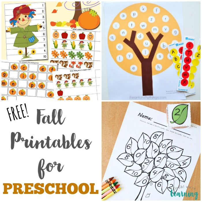 Free Fall Printables for Preschoolers - Look! We're Learning!
