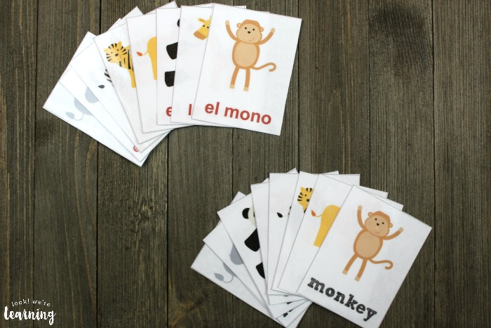 Printable Spanish Zoo Animal Flashcards for Kids