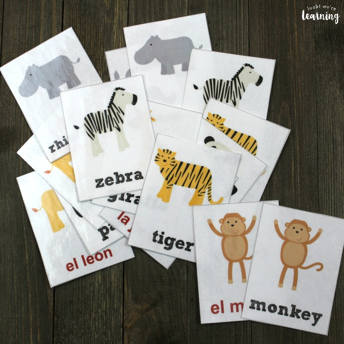 Printable Spanish Zoo Animal Flashcards
