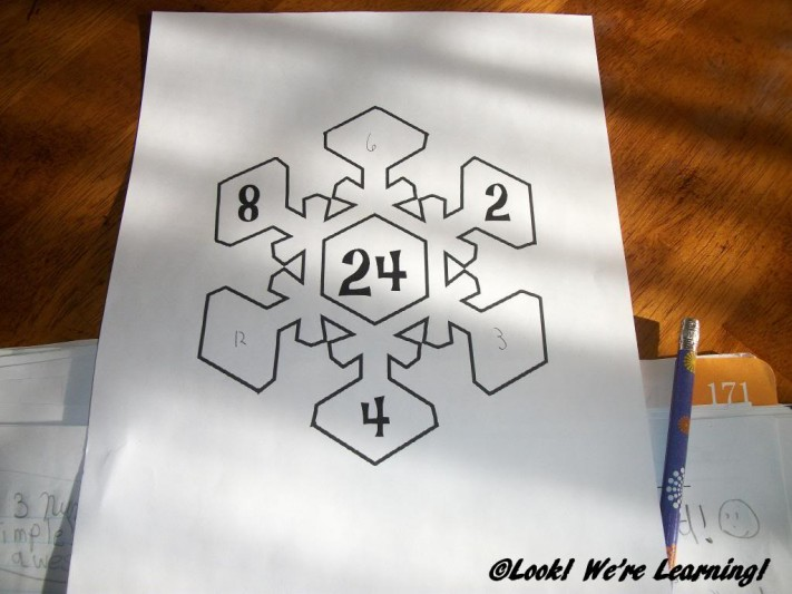 Completing the Snowflake Math Factor Printables - Look! We're Learning!