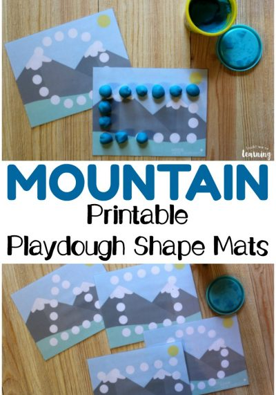 Help little ones practice fine motor skills and recognizing basic shapes with these fun printable mountain playdough shape mats for kids!