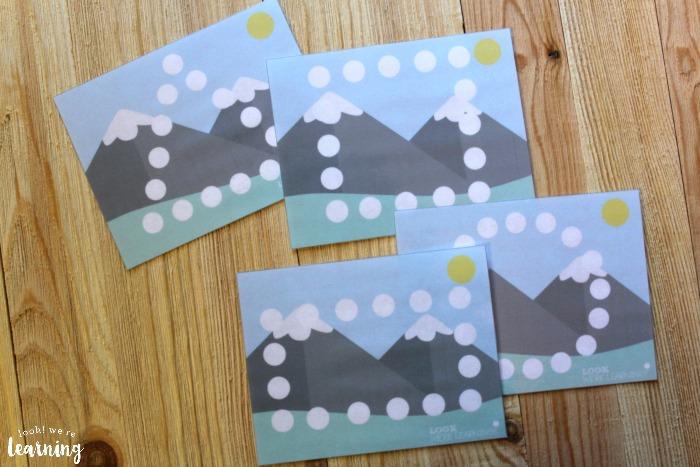 Mountain Playdough Shape Mats for Kids