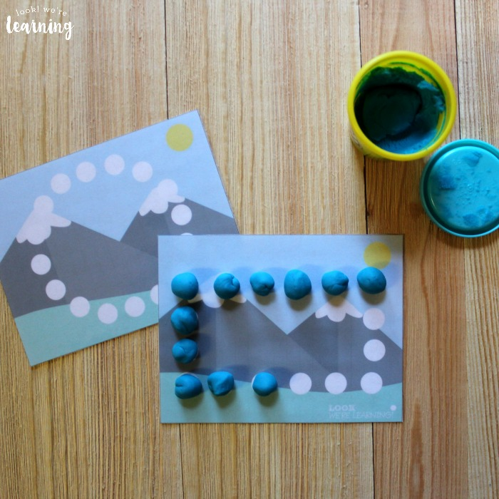 Mountain Themed Playdough Shape Mats for Kids