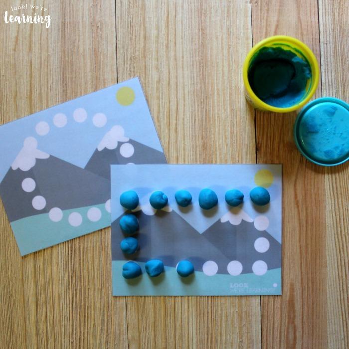Mountain Themed Playdough Shape Mats for Kids