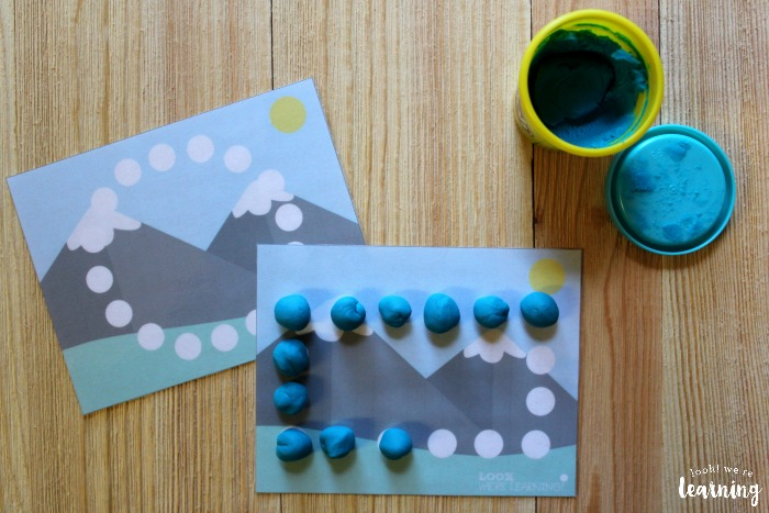 Mountain Themed Playdough Shape Mats