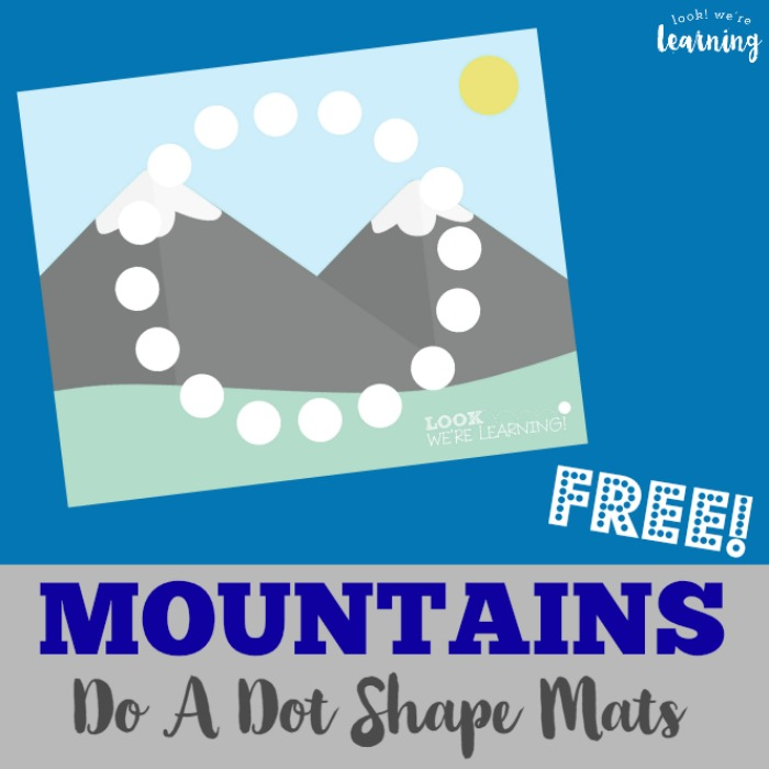 Preschool Playdough Mats: Mountain Do A Dot Shape Mats - Look! We're Learning!