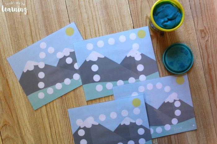 Printable Mountain Playdough Shape Mats