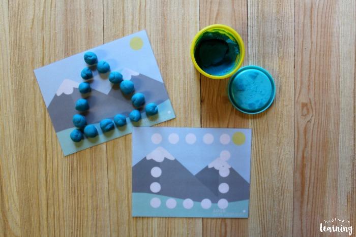 Printable Mountain Themed Playdough Shape Mats
