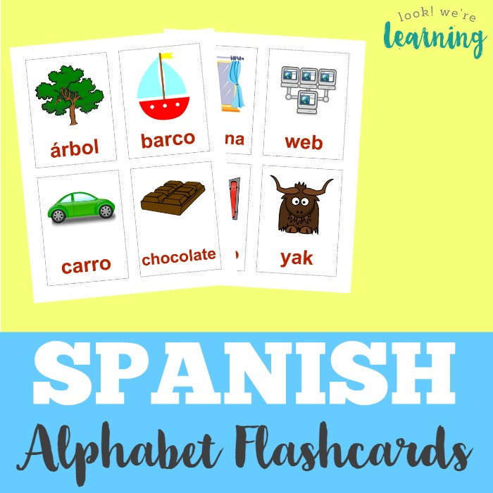 picture regarding Abc Flash Cards Printable identified as Printable Spanish Flashcards: Spanish Alphabet Flashcards