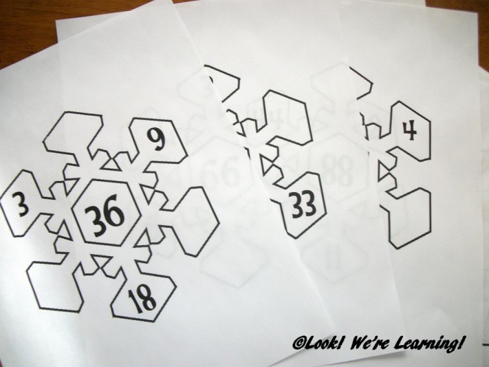 Printing Snowflake Math Factor Printables - Look! We're Learning!
