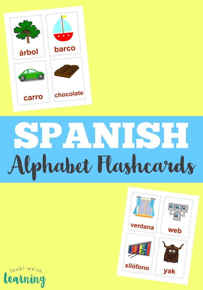 picture regarding Spanish Alphabet Printable named Printable Spanish Flashcards: Spanish Alphabet Flashcards