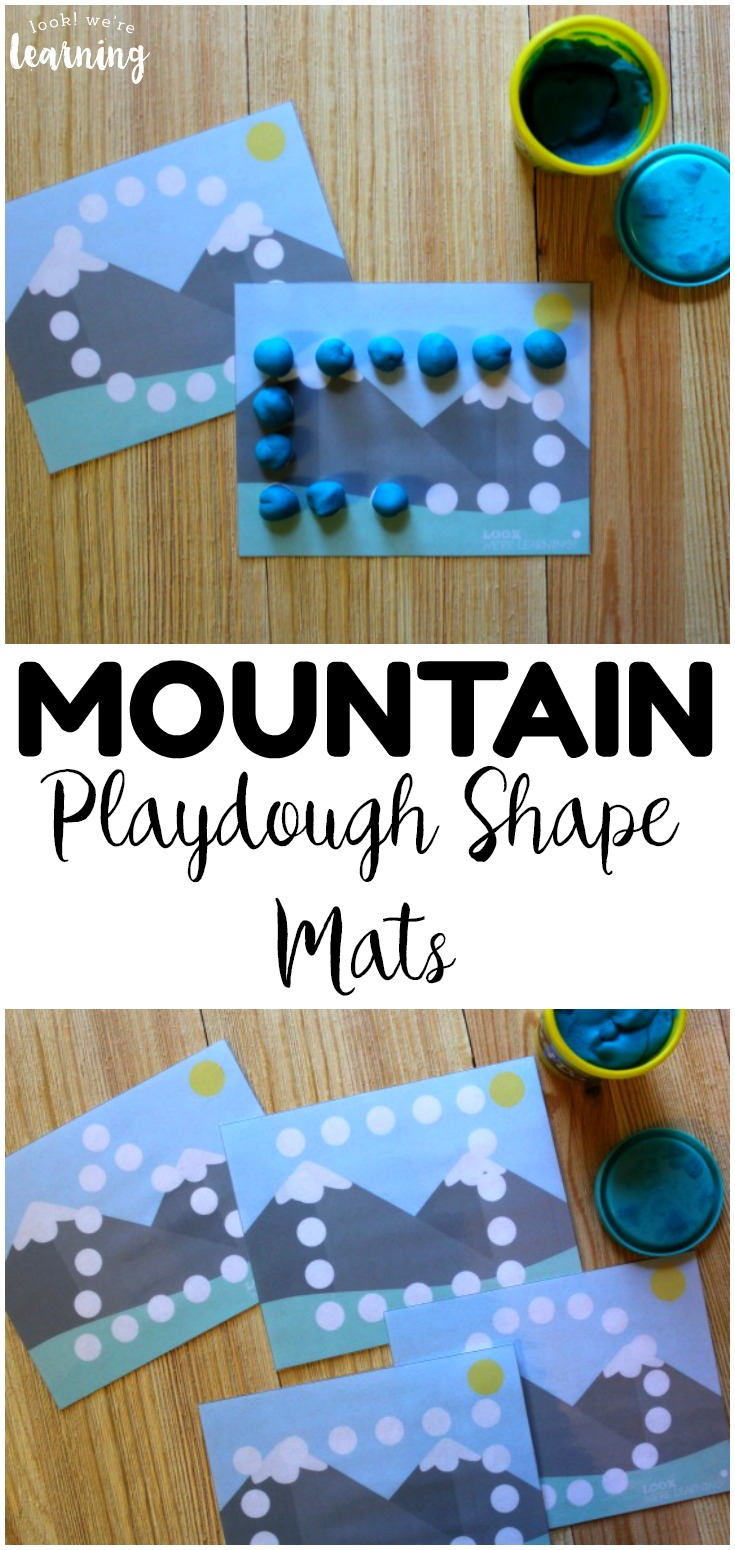 These printable mountain playdough shape mats are perfect for helping little ones practice fine motor skills and shape recognition!