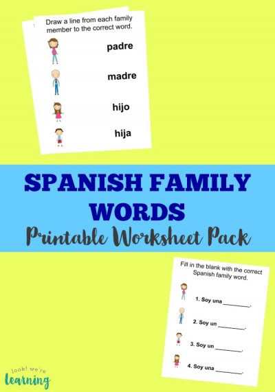 Use this printable Spanish family members worksheet pack to learn how to talk about family in Spanish!