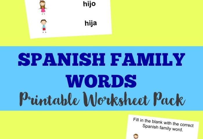 Spanish Worksheets for Kids: Spanish Family Members Worksheet Pack