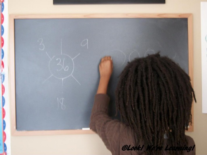 Working with Math Factor Printables on the Chalkboard - Look! We're Learning!