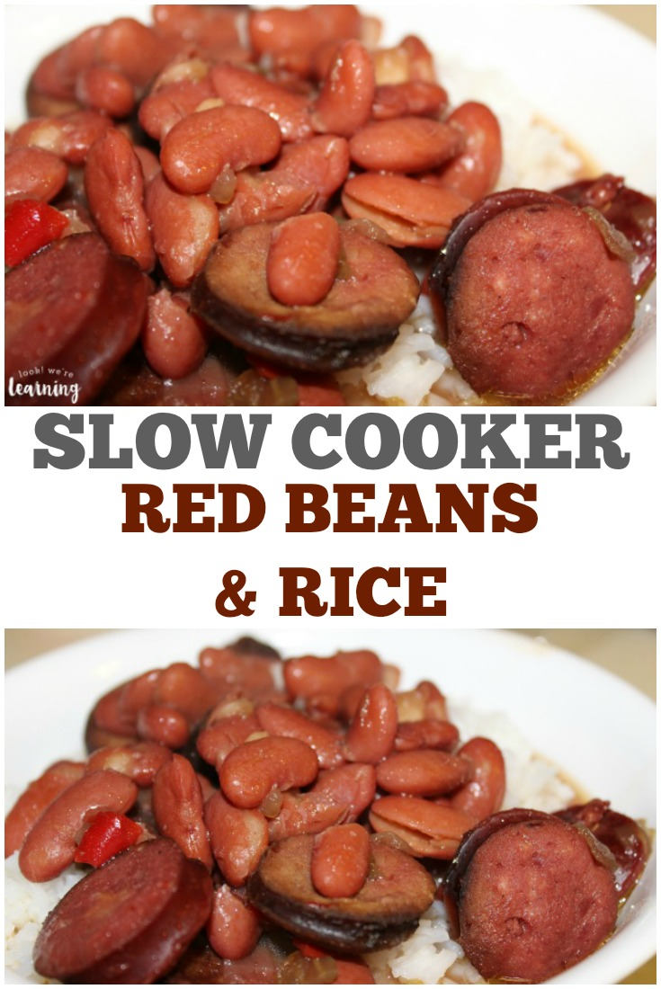 Need a quick hearty dinner for the family? Try this simple slow cooker red beans and rice recipe!