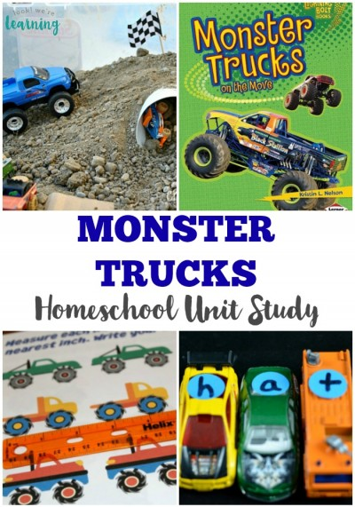 This monster truck unit study for homeschoolers features fun activities, crafts, videos, and books for kids!
