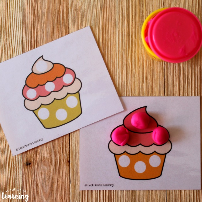 Cupcake Playdough Mats for Preschoolers