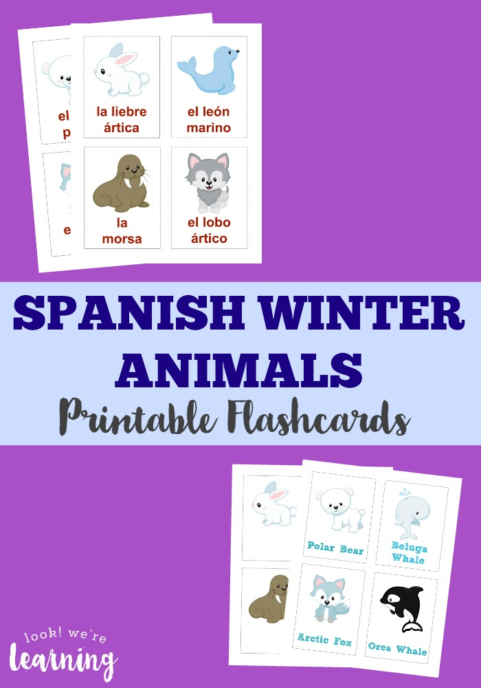 Teach kids how to talk about Arctic animals in Spanish with these printable Spanish winter animals flashcards!