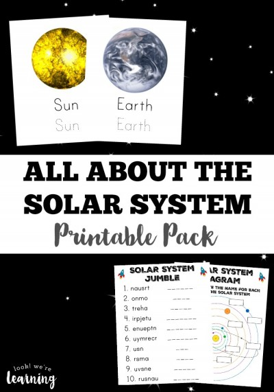 This printable pack teaches kids all about the members of our solar system! Such a great idea for an outer space unit!