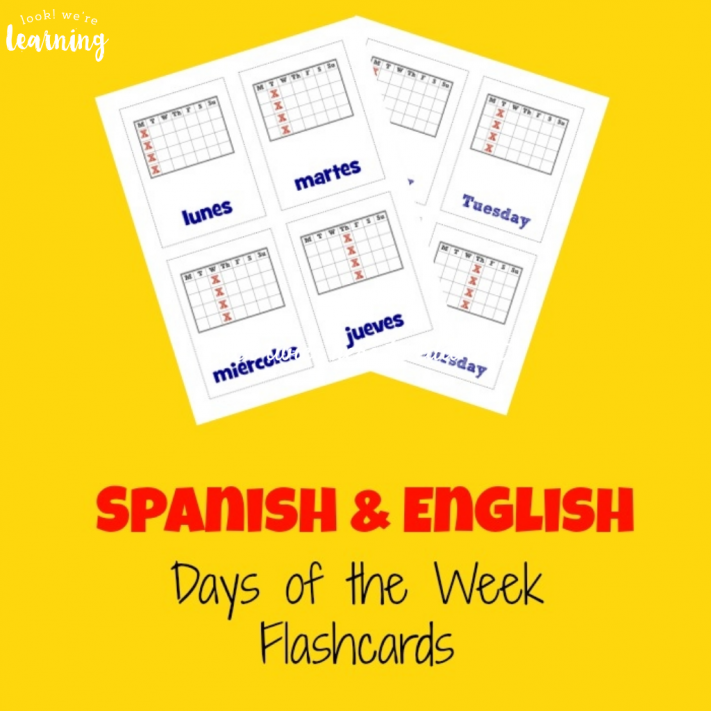 Spanish Days of the Week Flashcards - Look! We're Learning!
