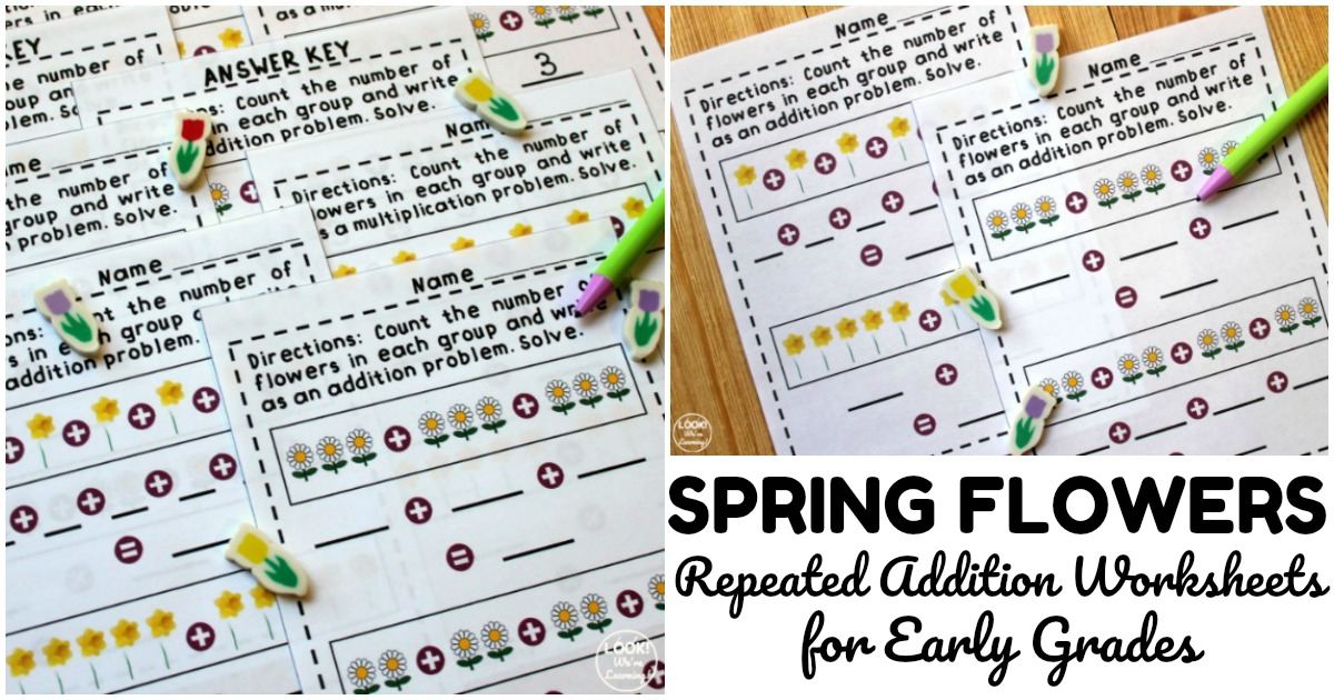 Fun Flower Repeated Addition Worksheets for Early Grades