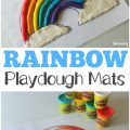 Kids will love making their own colorful rainbows with these rainbow playdough mats!