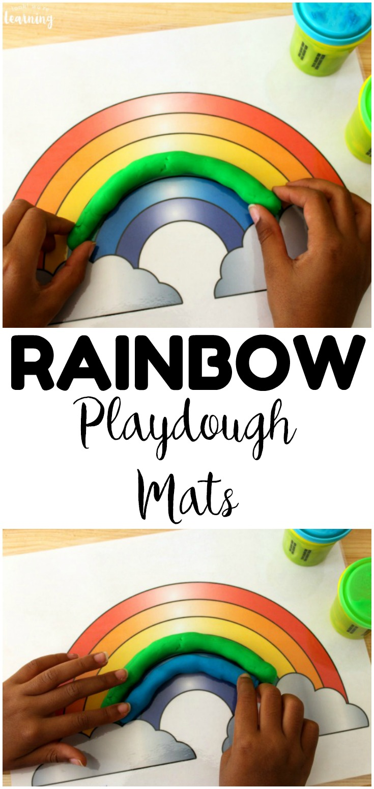 Learning about colors is so fun with these printable preschool rainbow playdough mats! Laminate them and use them over and over again for quiet play!