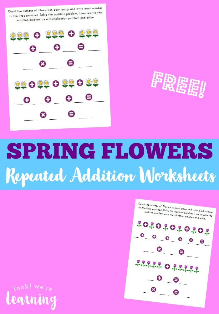 Looking for some fun spring worksheets for kids? These spring flower repeated addition worksheets are great for introducing the concept of multiplication!
