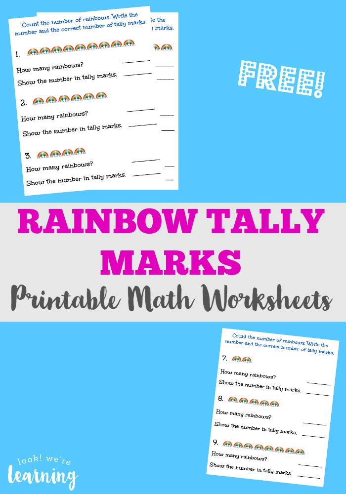 Free Rainbow Tally Marks Worksheets Look Were Learning – Tally Mark Worksheets for Kindergarten
