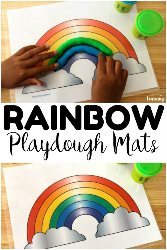 Pick up these printable rainbow playdough mats for some colorful fine motor fun with early learners!