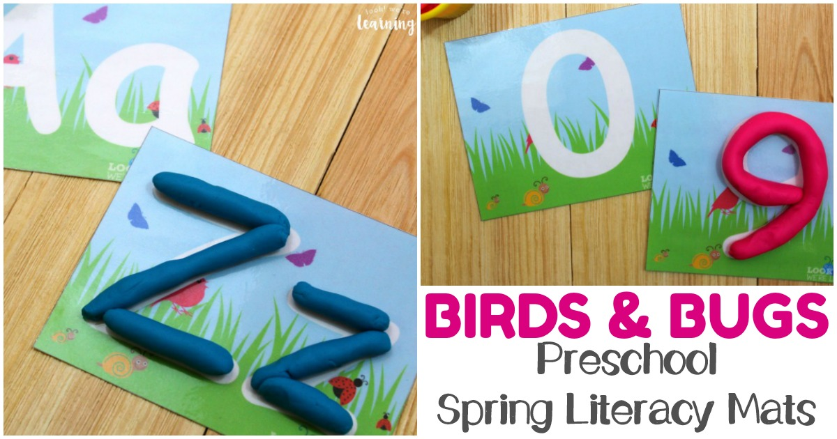 Practice alphabet and number recognition skills with these fun preschool spring literacy mats!