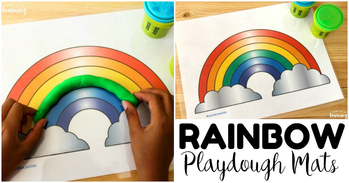 Printable Rainbow Play Dough Mats for Kids