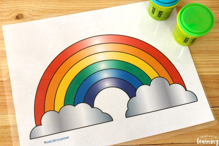 Printable Rainbow Playdough Mat for Kids