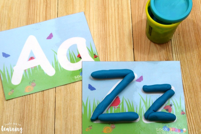 Spring Alphabet Playdough Mats for Kids